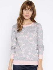 Jealous 21 Women Grey Melange Printed Sweater