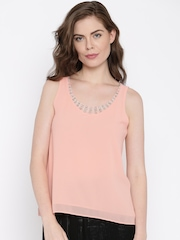 Jealous 21 Women Peach-Coloured Solid Embellished Top