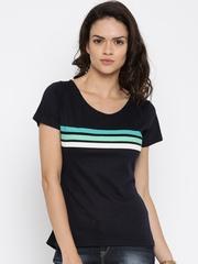 Jealous 21 Women Navy Blue Striped Top
