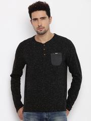 Being Human Men Beige Solid V-Neck T-Shirt