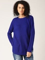 DressBerry Women Blue Solid Sweater