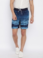 Jack & Jones Men Blue Printed Regular Fit Shorts