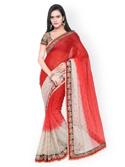Touch Trends Red & Beige Satin & Chiffon Embellished Saree