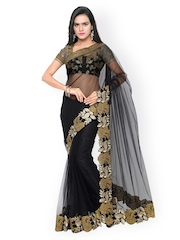 Touch Trends Black Embroidered Net Embellished Saree