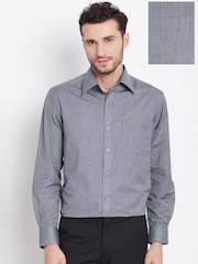 John Players Men Grey Solid Formal Shirt