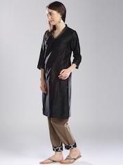 Fabindia Women Black Silk Straight Kurta