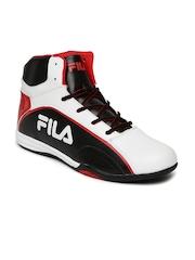 FILA Men White & Black Colourblocked High-Top Marco Sneakers