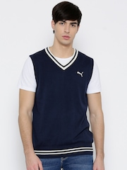 Puma Men Navy H2T Striped Detail Sleeveless Sweater