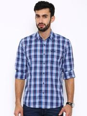 Wrangler Men Blue Checked Casual Shirt