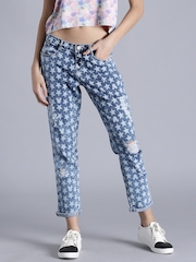 Kook N Keech Disney Women Blue Regular Fit Mid-Rise Printed Jeans