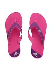 Adidas Women Purple & Pink Colourblocked Speck Flip-Flops