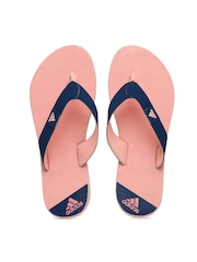 Adidas Women Navy Blue & Pink Colourblocked Speck Flip-Flops