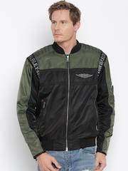Harley-Davidson Black and Green Biker Jacket