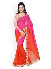 Silk Bazar Pink & Orange Faux Georgette Saree