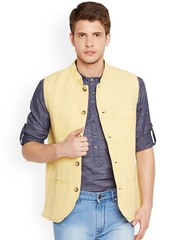 even Yellow Sleeveless Jute & Linen Nehru Jacket