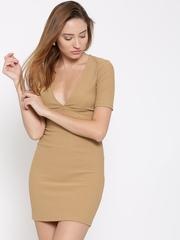 FOREVER 21 Women Beige Self-Striped Bodycon Dress
