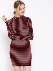 FOREVER 21 Women Maroon Striped Sheath Dress
