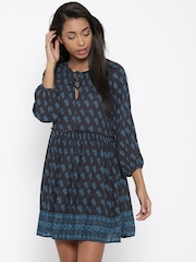 FOREVER 21 Women Charcoal Grey Printed Tailored Dress