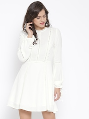 FOREVER 21 Women White Lace Fit & Flare Dress