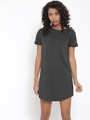 FOREVER 21 Women Charcoal Grey Solid Jersey Dress