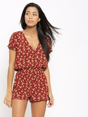 FOREVER 21 Maroon & Yellow Floral Print Playsuit