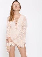 FOREVER 21 Peach-Coloured Lace Playsuit