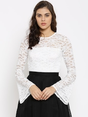 FOREVER 21 Women White Lace Crop Top