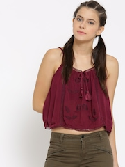 FOREVER 21 Women Magenta Embroidered Crop Top