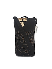 Pick Pocket Black & Gold-Toned Embroidered Mobile Pouch