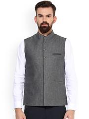 Turtle Grey Nehru Jacket with Woven Design