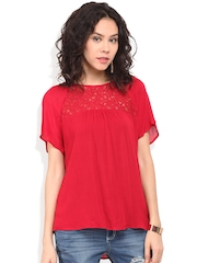 Blue Sequin Women Red Lace Crepe Boxy Top