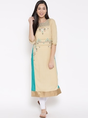 W Women Beige Printed Panelled Straight Kurta