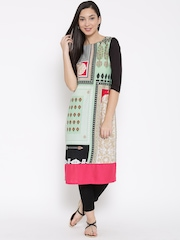 W Women Multicoloured Printed Straight Kurta