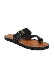 Bata Men Black Star TR Genuine Leather Sandals