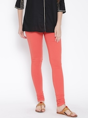 W Coral Orange Churidar Leggings