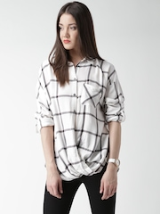 New Look Women Off-White Checked Shirt Style Top