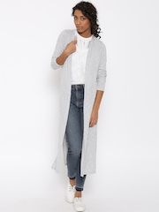 New Look Grey Melange Self-Striped Longline Shrug