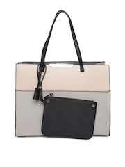 New Look Grey Colourblocked Shoulder Bag with Pouch