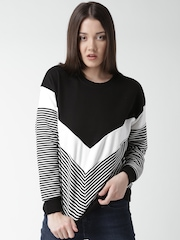 New Look Black & White Colourblocked Sweatshirt