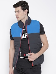 Reebok Grey & Blue Colourblocked Sleeveless Quilted Jacket