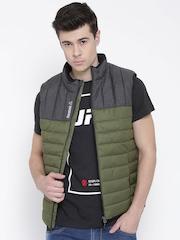 Reebok Olive Green & Charcoal Grey FM Colourblocked Slim Fit Puffer Jacket