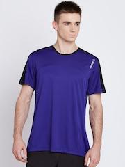 Reebok Men Blue Contrast Solid Round Neck T-shirt