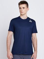 Reebok Men Navy WOR SUP Solid Round Neck T-shirt