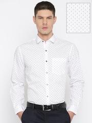 John Players Men White & Black Slim Fit Printed Semiformal Shirt