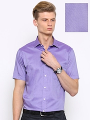 Arrow Men Purple Regular Fit Self-Design Formal Shirt