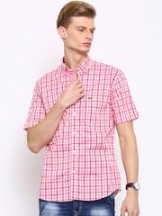 Arrow Sport Men Pink & Orange Regular Fit Checked Casual Shirt