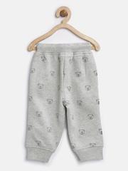 Baby League Boys Grey Melange Bear Print Track Pants