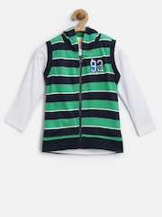 Baby League Boys Green & White Striped Clothing Set
