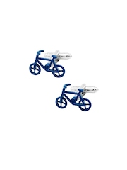 The Tie Hub Blue Bicycle-Shaped Cufflinks