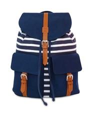 Lemon Trunk Women Navy & White Striped Backpack